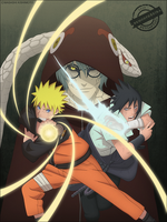 Naruto, Sasuke and Kabuchimaru by DemonFoxKira