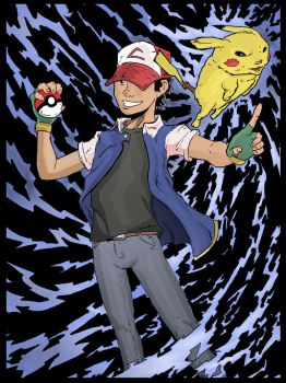 Ash and Pikachu by brianthomaswolf
