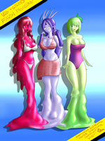 Synthesized Slimegirl Sisters Sensational Swimsuit by DoodleDowd