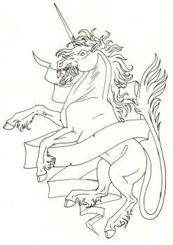 Heraldric Unicorn lineart by ThunderboltFire