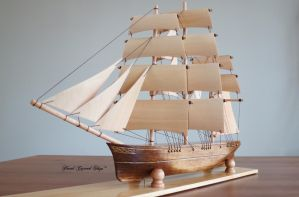 Hand Carved Clipper Ship #5 - Completed by mferraton