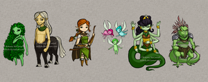 .:Commission:. Green Fans and Muses by Anilede