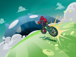 red rides his bike by utria