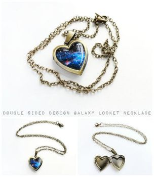Double Sided Galaxy Bronze Heart Locket Necklace by crystaland
