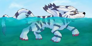 Garurumon taking a swim by Juddlesart