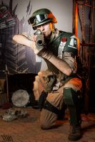 Cadian Imperial Guardsman kneel fire by Wastort