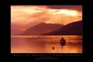 Boat at Sunset on Loch Linnhe by MarkShannon-Prints