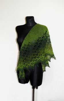 Hand Knit Lace Shawl by NitkaAG