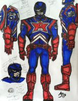 Captain America Costume Redesign - Model Sheet by drwcomics