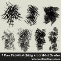 Free Brush Set 08: Crosshatching and Scribbles by tau-kast