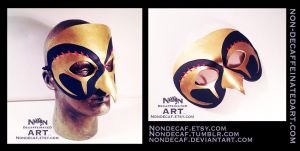 Egyptian Horus Mask in Black and Gold by nondecaf
