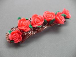 Victorian Red Rose Hair Barrette by sojourncuriosities