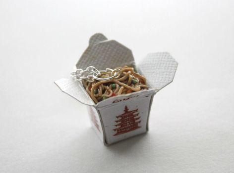 Chinese Takeout Box Noodles Necklace by ChroniclesOfKate