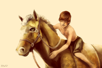 Hiccup with OC horse by Hi-Ku