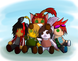 Group of Plushies by Ginpu