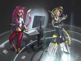 Kokonoe and Lamda-11 by hybridmink