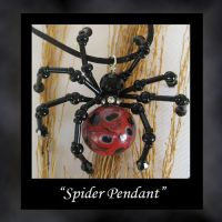 Spider Black Red Pendant by KabiDesigns