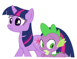 Twilight and Spike by PaulySentry
