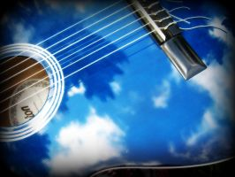 Blue sky in my guitar by Annas-Day-Dreams