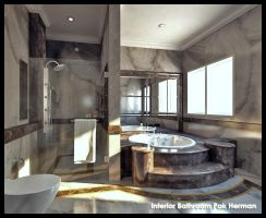 Full Marble Master Bathroom by SanSamuel