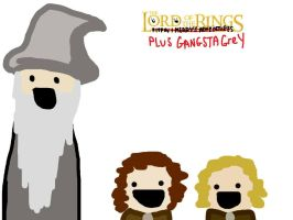 Pippin, Merry and Gandalf by GlassGrenade