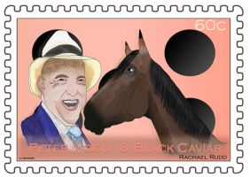 Spring Racing Stamp - Peter Moody and Black Caviar by ily4ever95