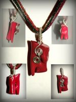 Red coral and Sterling silver pendant by marsvar