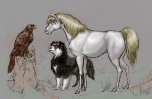 GW- Eagle, Dog, Horse by SapphireGamgee