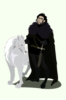 Jon Snow and Ghost by Jilue
