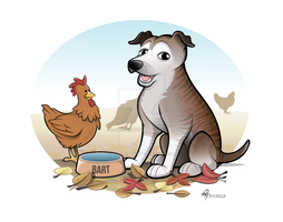 Staffy x Cattle Dog Caricature with Background by timmcfarlin