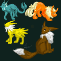Orginal Evolutions of Eevee by catseathedevil