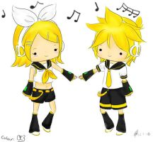 Kagamine Twins - Coloured Lineart by MisakiOC3