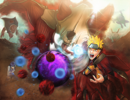 Naruto and kyuubi (Pain Fight-Shippuden) by DamXVilla