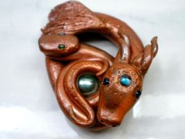 Dragon Mother and Baby polymer clay sculpture by Brisbykins