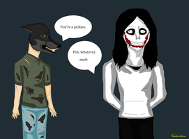 Wolfface growls at Jeff the Killer by 75-Canis-dirus-75