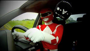 Red  Ranger behind the wheel by KellHiro