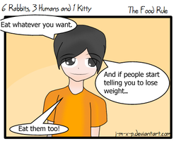 6 Bunnies,3 Humans and 1 Kitty - The Food Rule by J-M-X-P