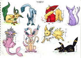 Eeveelutions [markers] by 11chiyochan