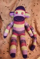 Violet the stripey sock monkey by Mab-overthrown
