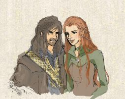 Kili and Tauriel by airakusumas