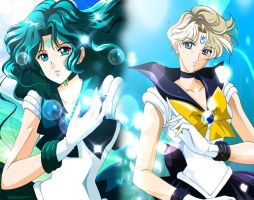 sailor neptune and sailor uranus Crystal Version by stefanolattanzio