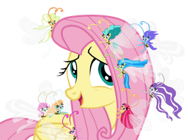 Fluttershy and breezies (vector) by AlejaMoreno-Brony