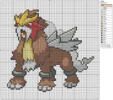 244 - Entei by Makibird-Stitching