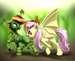 Commission: Forest and Flutterbat by MykeGreywolf