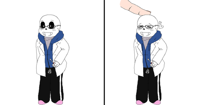 BittyBones AU Scientist!Sans by DarkRoseTheHedgie