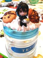 Black Butler handmade decoden tea jar by SimonaZ