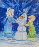 Young Elsa and Anna Building Olaf by DaveCarignan