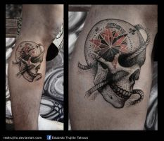 rose of the winds.....OF DEAD! tattoo by redtrujillo