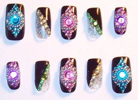 Rainbow Rhinestone Nails by The-Lady-of-Kuo