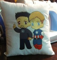 Steve and Tony Pillow by nanashisangel